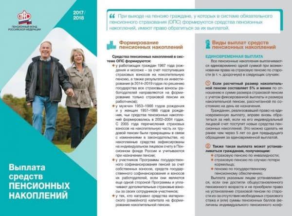 Памятка ПФР относительно выплат накопительной части пенсии