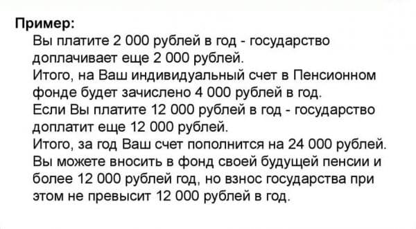 Пример расчетов софинансирование пенсии государством