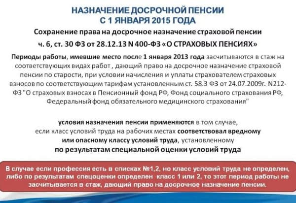 Пенсионная реформа РФ - досрочные пенсии