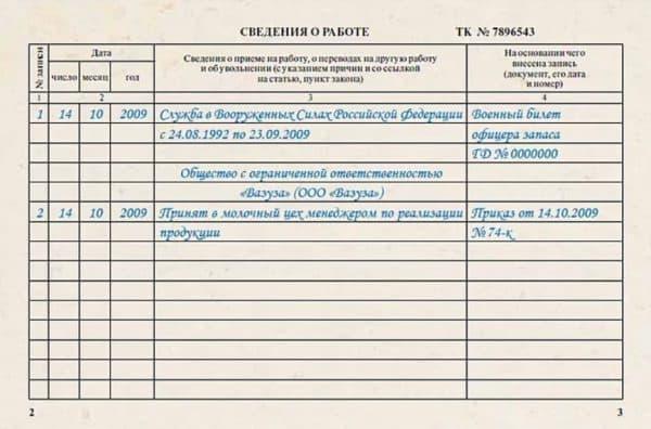 Правила внесение записи в трудовую книжку периода службы в армии